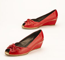 Van Dal Kid Leather Wedge Shoes Scarlet Red/Gold w/ Bow Peep Toe UK Size 5EEE 2