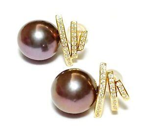 Stunning Black Purple Green 10 - 10.5mm Edison Cultured Round Pearl Earrings
