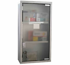 HOMCOM Wall Mounted Medicine Cabinet First Aid Box Glass Door Lockable