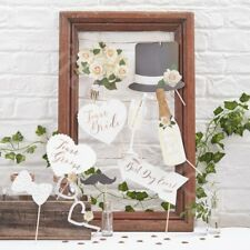 10Pc Rustic Wedding Photo Booth Props Party Game Photobooth Selfie Accessories
