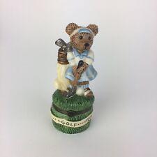 Boyds Bearware Pottery Porcelain Hinged Box Golfing Girl Bear & Baby Bear 18Hole