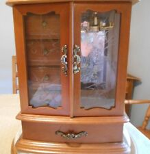 """Sankyo"" Jewelry Box Vintage Japan Solid Wood Hand Painted Glass"