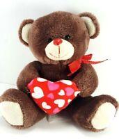 "Valentine Brown Teddy Bear Pink Red Heart Plush Stuffed Animal Bow 7"" Soft"