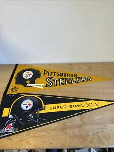 Lot Of 2 Pittsburgh Steelers Pennants 2010 Super Bowl XLV other 1970's Nice lot!