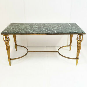 Coffee Table Neo-Classical Home Jansen 1970 Vintage IN Marble & Brass Solid