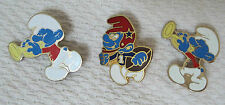 Lot of 3 Old Smurf Pins Football & Trumpet Horn Enamel Bar Back 1 Inch T31