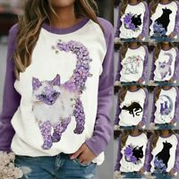 3D Cat Print Women Girls Tee Short Sleeve O-neck Casual T-Shirts Top Blouse Plus