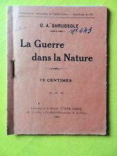 Shrubsole La Guerre dans la Nature Editions de L'Idée Libre 1922 Libre Pensée