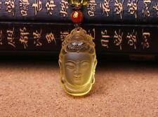 good luck natural citrine buddha guanyin head zen charm handmade pendant
