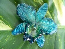 REAL Cattleya Orchid Pendant & Brooch Jewelry Stunning! Navy