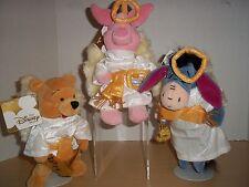 3 Disney Store Mini Bean Bag Plush Choir Christmas Angels - Pooh Eyeore Piglet