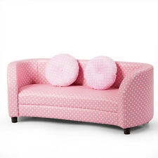 Topbuy 2-Seat Kids Couch Armrest Chair Playroom Furniture Two Cloth Pillows Pink