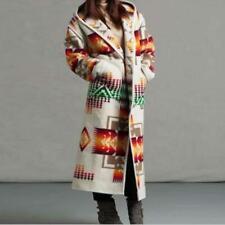 Women 2020 Fashion Ethnic Style Boho Printed Hooded Long Jacket Coat Loose Jin20