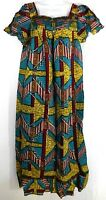 African Wax Ankara Long Maxi Dress With Details Square Neckline Womens Size L