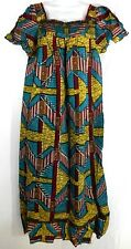 African Wax Ankara Long Maxi Dress With Details Square Neckline Women's Size L