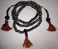 Sanskrit ॐ Aum Om Batik Bone 8mm Buddhist / Hindu 108 Bead Mala Prayer Beads