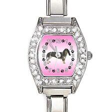 Basset Hound CZ Womens Stainless Steel Italian Charm Bracelet Wrist Watch BJ1051