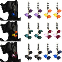 Fashion Women Acrylic Flower Resin Alloy Dangle Drop Ear Stud Earrings Jewelry