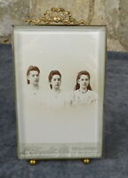 "Antique French Nap III Bronze&Beveled Glass Photo Frame Louis XVI Ribbon 8""tall"