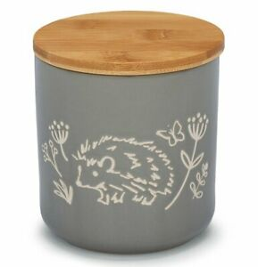 GREY Hedgehog COUNTRY ANIMALS FOOD STORAGE CANISTER Ceramic Jar with Lid