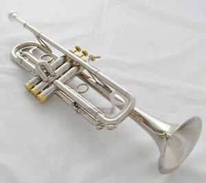 Professional Silver Nickel Trumpet B-Flat Horn Monel Valves Brand New With Case