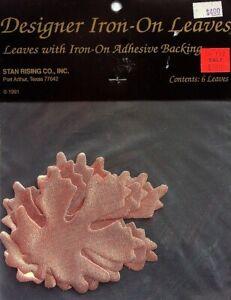 6 Designer Medium Iron-On Leaves  Orange  Adhesive Backing For Fabric