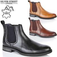 Mens Leather Chelsea Boots Work Ankle Biker Smart Formal Boots Office Shoes Size