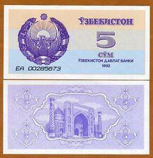 Uzbekistan, 5 Sum, 1992 (1993), P-63, UNC