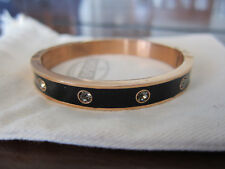 Fossil Glitz Dot Rose Gold Hinge Bangle Crystals Black Enamel Pouch Included