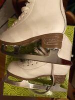 Jackson Mystique Figure Ice Skates Girl's Size 12 1/2 White 7 2/3 Blade