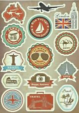 """Sticker Decal Sticker Set """" Reise-Mix """" - Suitcase, Laptop, Stickerbomb (a)"""