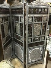Antique Wood Room Divider Screen Inlaid Mother of Pearl & Hand Work Arabesque