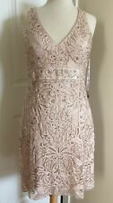 🛑 SUE WONG  Antique Champagne Beaded Cocktail Bridal Illusion Dress 8