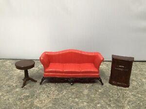Vintage Renwal Sofa Radio End Table Dollhouse Furniture Plastic Living Room