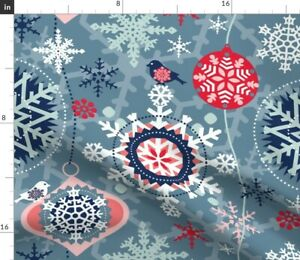Christmas Graphic Snowflakes Winter Snow Snowfall Spoonflower Fabric by the Yard