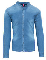CAMICIA DI JEANS UOMO DIAMOND CASUAL DENIM NUOVA CON COLLETTO ALLA COREANA