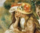 """Auguste Renoir CANVAS PRINT Two Girls Drawing painting poster 24""""X16"""""""