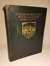 1924 STALKING BIG GAME W/ CAMERA 1ST ED SIGNED LTD PHOTOGRAVURES AFRICA ANIMALS