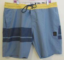 Volcom Slingers Board Shorts Size 40 Mens Blue Yellow Swim Trunks Surfing Wake