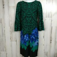 Size XS Dress Bell Sleeves Damask and Floral Print 3/4 Sleeve