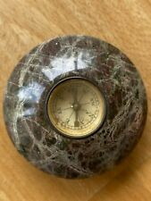 Vintage Cornish Serpentine agate paperweight with compass