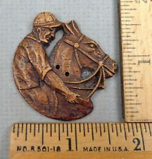 SYROCO WOOD Antique BUTTON, 1900s JOCKEY on HORSE Embossed Design, LARGE