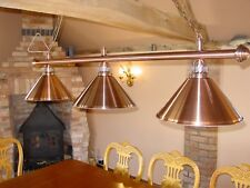 Canopy Lighting - Pool/ Snooker Table Canopy - Brushed Copper Bar and 3 Shades