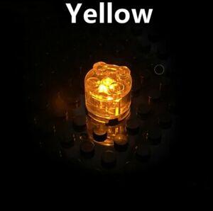 BRICKBUMS CUSTOM ROUND 2X2 YELLOW LED LIGHT BRICK FOR LEGO NEW