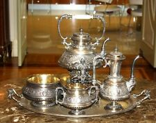 MAGNIFICENT 19C FRENCH 5P 950 STERLING SILVER TEA SET, TRAY (290 OZ.)