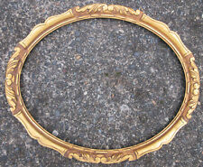 "vintage c1950 HAND CARVED WOOD OVAL PICTURE or MIRROR FRAME 15 3/4"" x 19 3/4"""