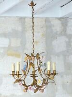 Vintage French 5 Arms Gilded Metal Chandelier Ceiling Porcelain Flowers 1950