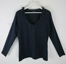 River Woods Navy Blue Rabbit Fur Trim Long Sleeve Top Size L