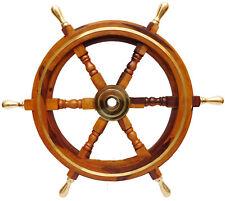 Maritime Boat Ships 24'' Captain Nautical Beach Ship Wheel Wooden Steering Wheel