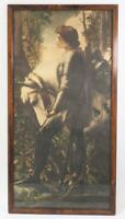 Antique George Frederick Watts Sir Galahad Lithograph Art w/ Frame